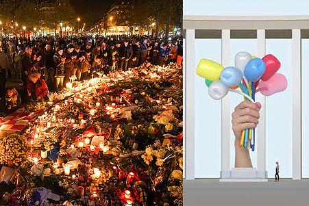 À gauche, une cérémonie d'hommage aux victimes du 13novembre2015. À droite, le _Bouquet of Tulips_ de Jeff Koons.