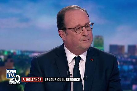 François Hollande sur France2, image relayée par BFMTV. Titre (de France2): «F.Hollande | Le jour où il renonce»