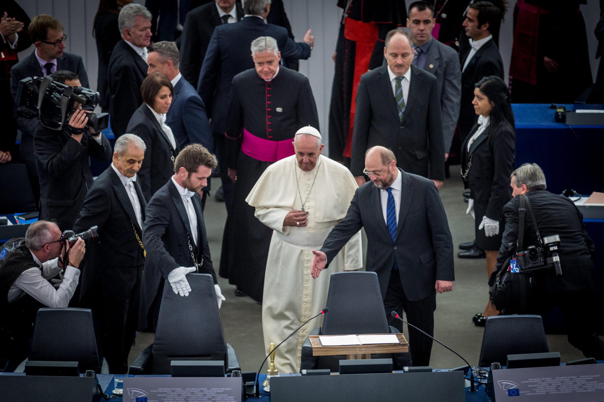 Le pape François au parlement européen en 2014