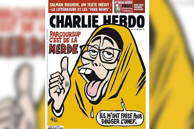Couverture de Charlie Hebdo, caricature de Myriam Pougetoux disant avec un air bête «Ils m'ont prise pour diriger l'UNEF». Titre: «Parcoursup c'est de la merde»