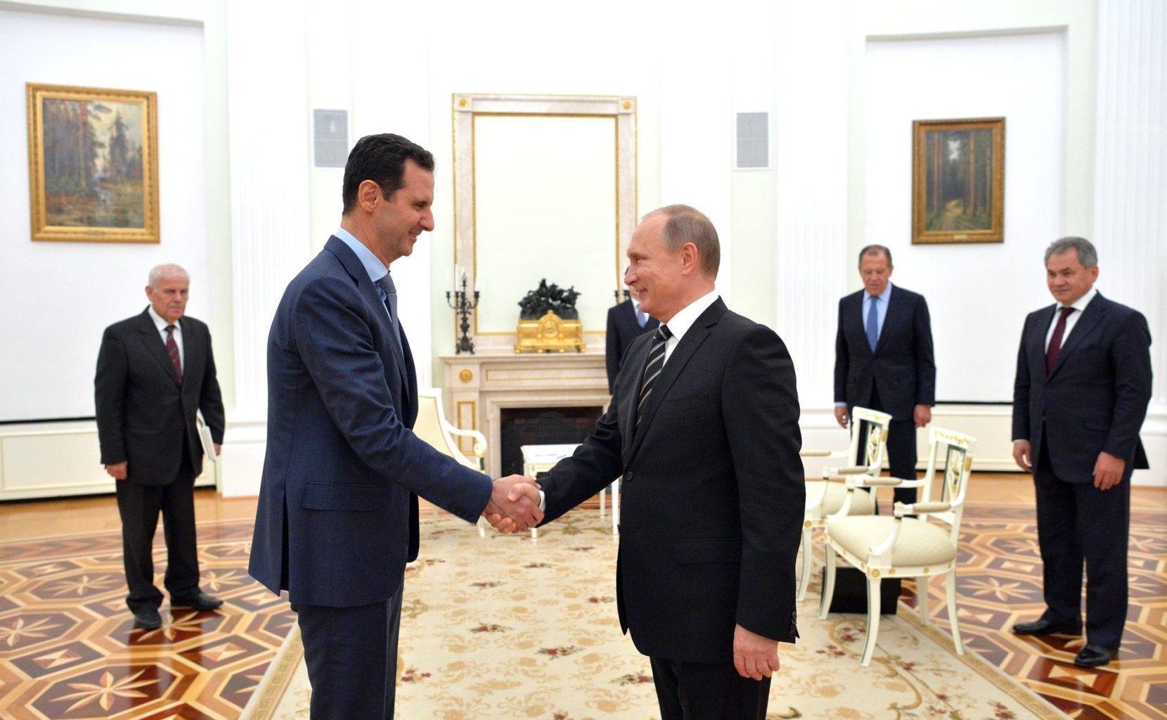 Rencontre entre Vladimir Poutine et Bachar Al-Assad en Russie, pour une visite de travail (2015)