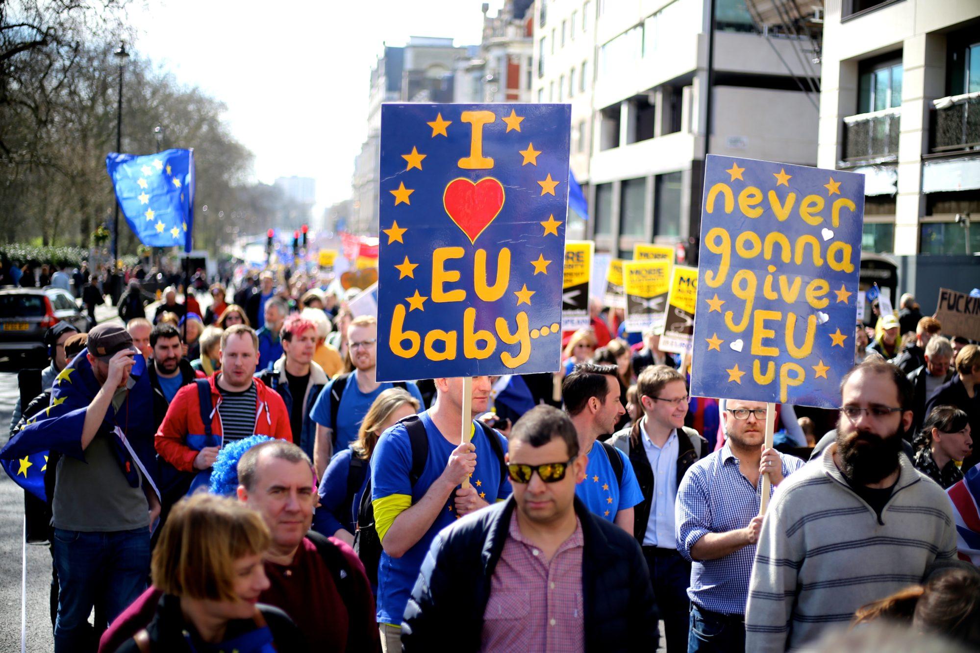 Manifestation pour l'Europe en Angleterre, dans le cadre du Brexit