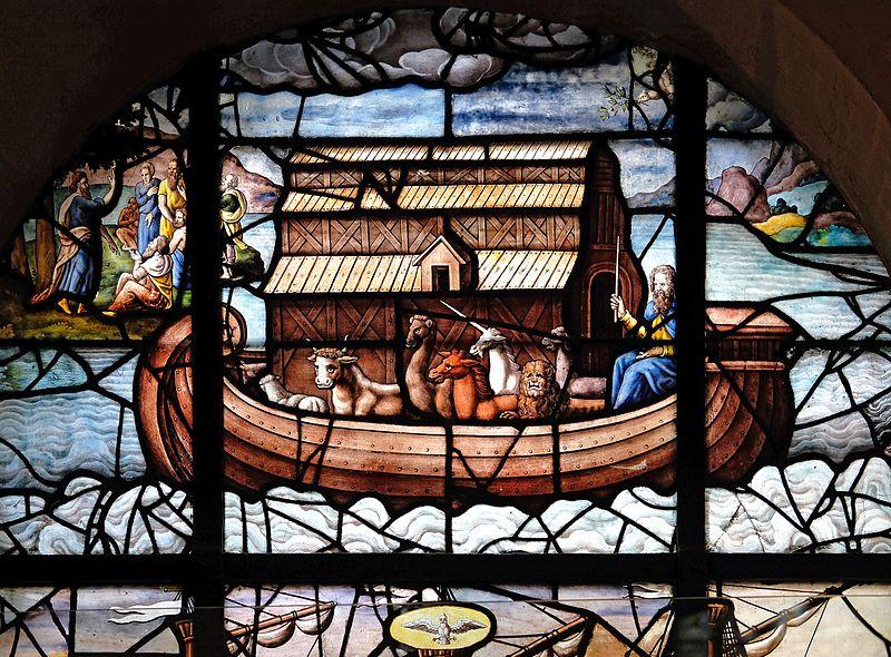 Vitrail sur l'épisode de l'arche de Noé