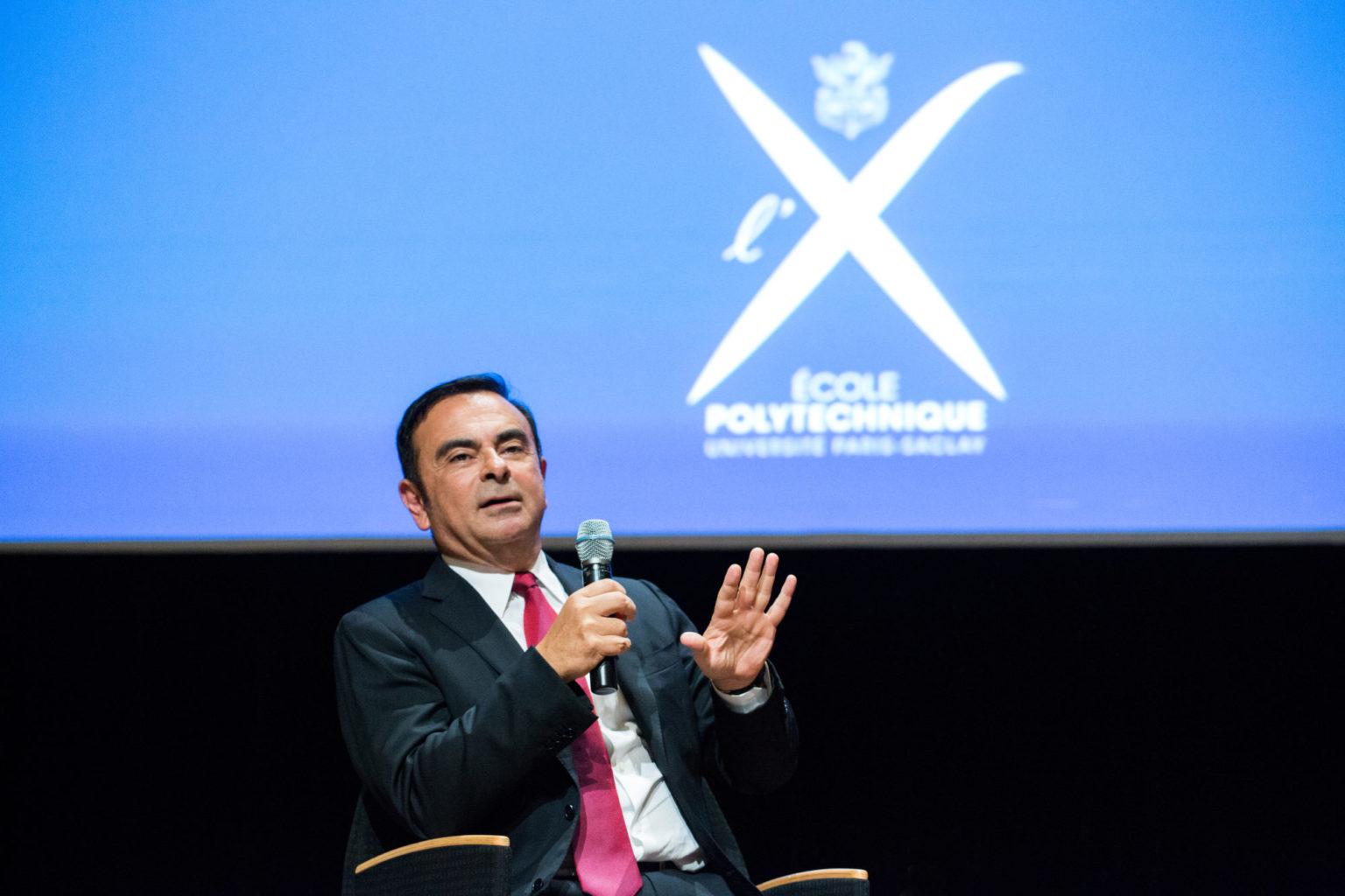 Conférence de Carlos Ghosn, président-directeur général de l'alliance Renault-Nissan, à l'école Polytechnique