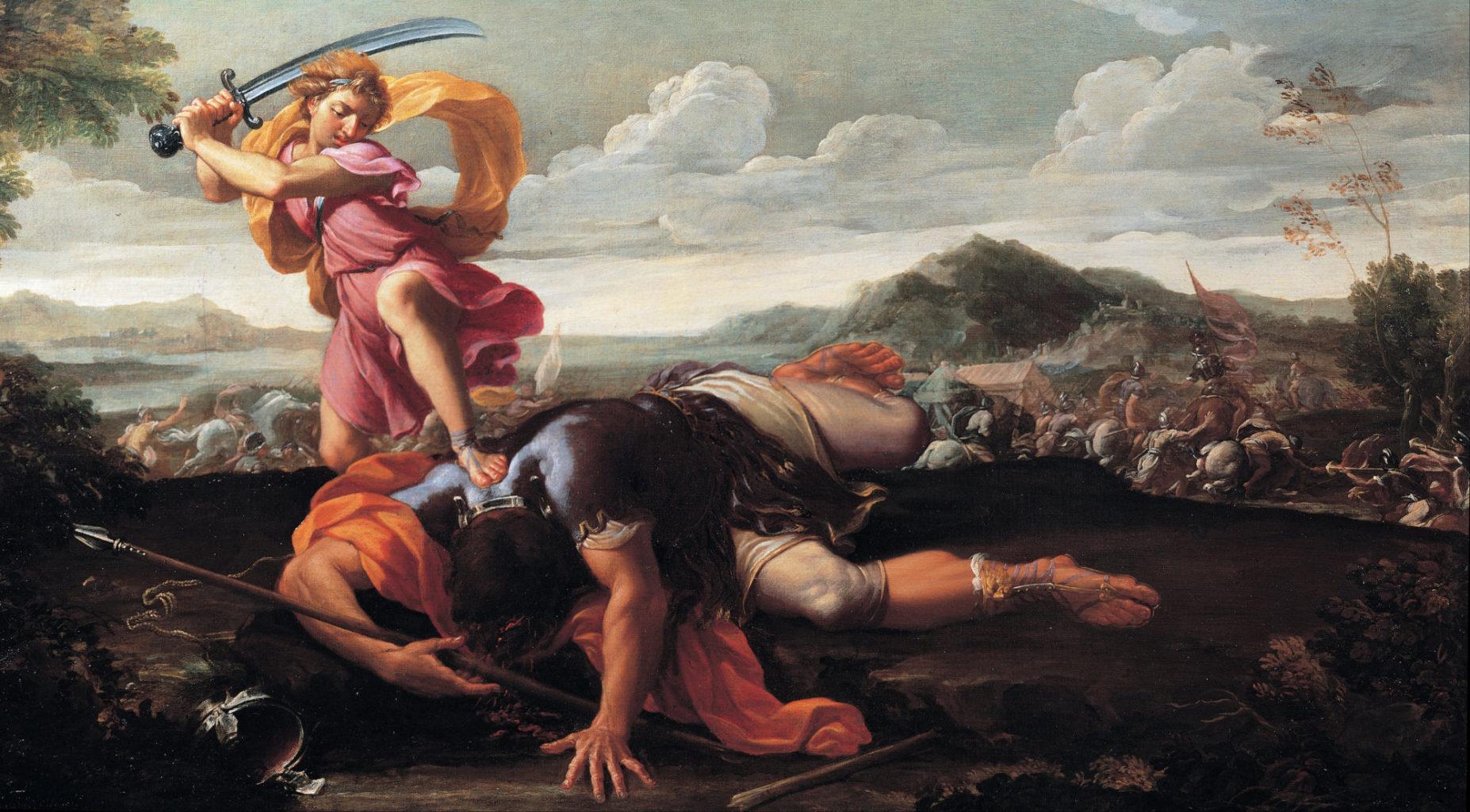 David et Goliath de Guillaume Courtois, entre 1650 et 1660