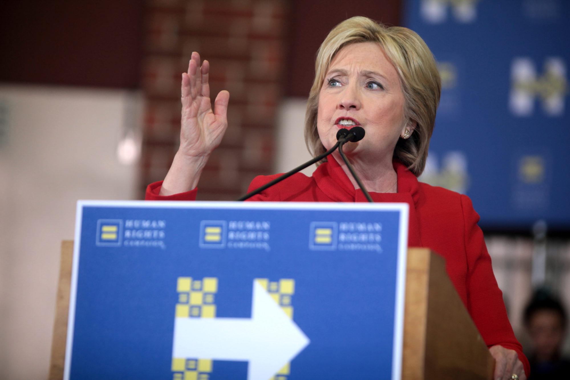 Hilary Clinton lors d'un meeting présidentiel